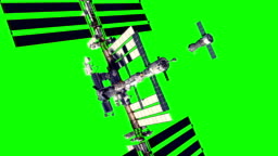 4K. Spacecraft Docking To International Space Station. Green Screen.