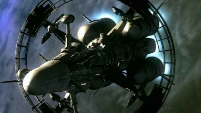 A spacecraft transports humans from Earth in a computer-generated animation.