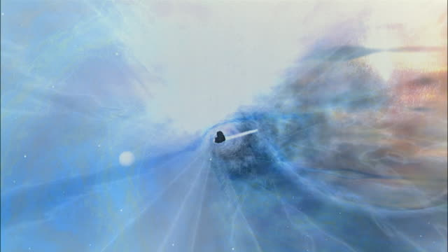CGI spacecraft POV traveling through wormhole / dodging meteors / exiting wormhole and flying toward space station