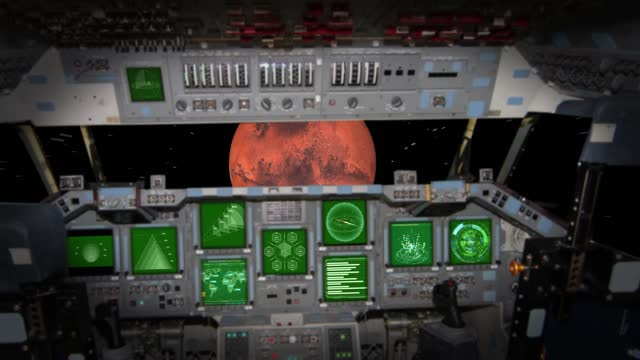 spaceship cockpit in a pilot point of view to mars. stock video of mars - control panel stock videos & royalty-free footage