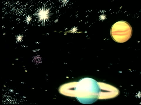 1956 animation ws spaceship leaving earth and landing on mars - ufo点の映像素材/bロール