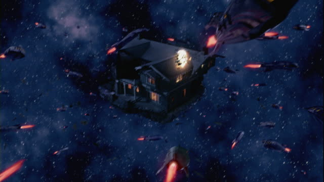 spaceships firing on a house floating in outer space. - ruined stock videos & royalty-free footage