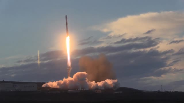 a spacex falcon 9 rocket carrying iridium launched from space launch complex4e vandenberg air force base california on 11 january 2019 - launch event stock videos & royalty-free footage