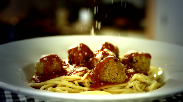 spaghetti and meatballs - sprinkling stock videos and b-roll footage