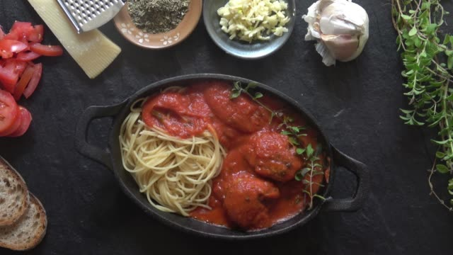spaghetti and meatballs - high angle view stock videos & royalty-free footage