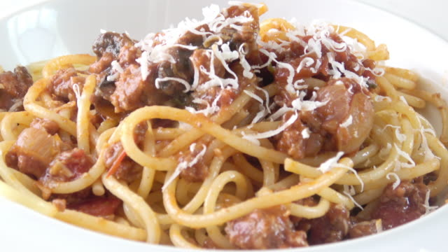 spaghetti bolognese - parmesan stock videos & royalty-free footage