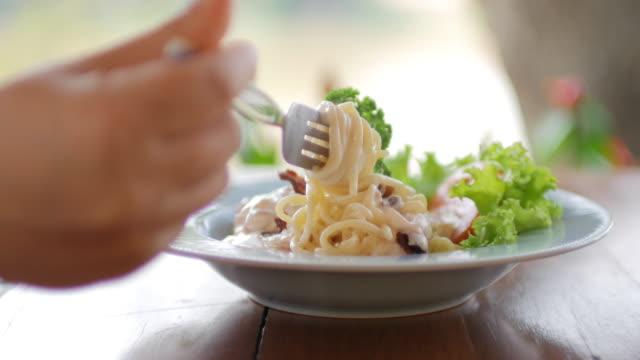 spaghetti carbonara - italian food stock videos and b-roll footage
