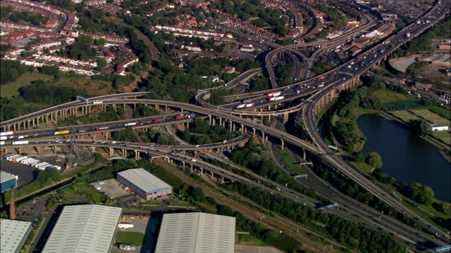 spaghetti junction  - aerial view -, united kingdom - overhead projector stock videos & royalty-free footage