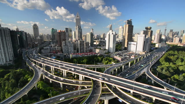 'Spaghetti Junction' at Yan'an East Interchange, Shanghai, China.