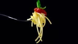 Spaghetti, pasta on black background