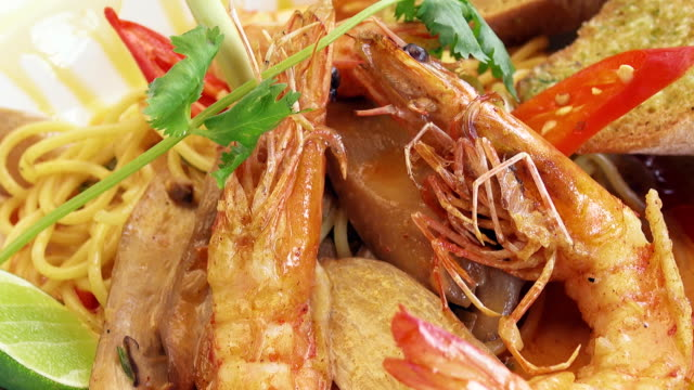 spaghetti tomyam goong - lobster stock videos & royalty-free footage