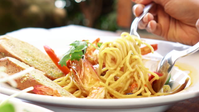 spaghetti tomyam goong - lobster stock videos & royalty-free footage