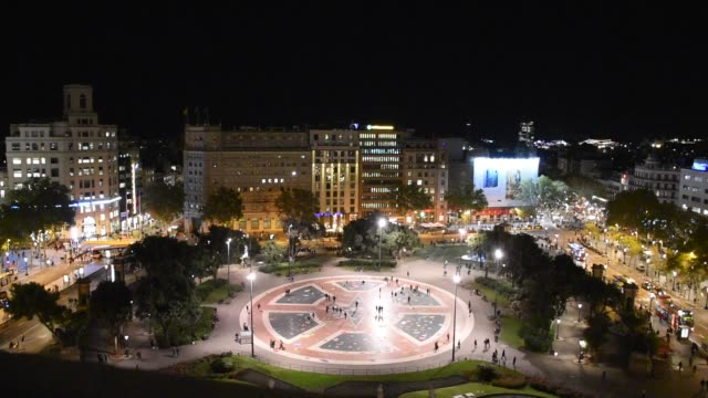 spain: aerial view of catalunya square in barcelona - courtyard stock videos & royalty-free footage