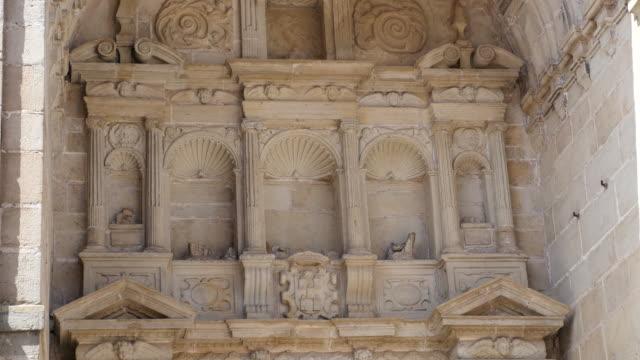 spain alcala de la selva church facade - レリーフ点の映像素材/bロール