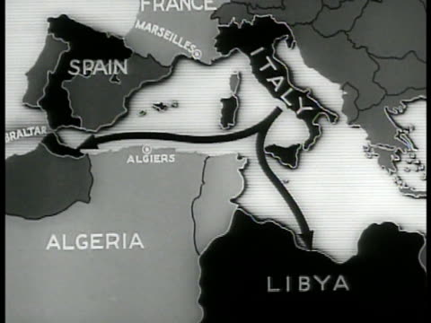 map spain algeria italy libya animated line connecting marseilles france across balearic isles to algiers algeria - 1937 stock videos and b-roll footage
