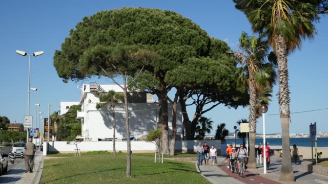 spain cambrils people walking and biking - cambrils stock videos & royalty-free footage