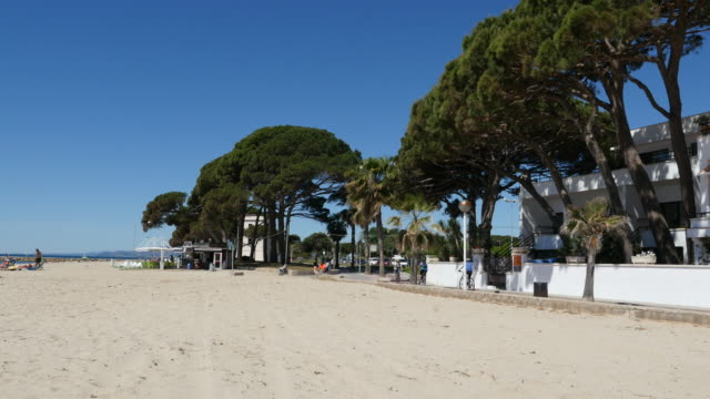 spain cambrils view of beach and path - cambrils stock videos & royalty-free footage
