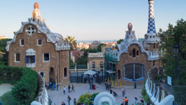 Spain, Catalonia, Barcelona, Park Guell, listed as World Heritage by UNESCO - Time lapse