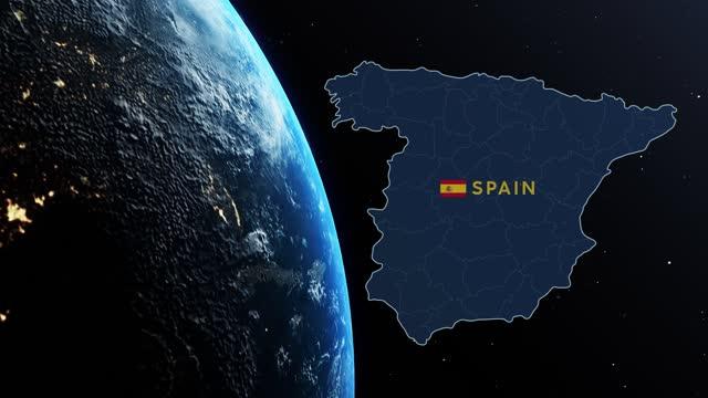 星を持つ黒い背景に対して宇宙空間で回転しながら、惑星地球上のスペインのカントリーマップとフラグ - スペイン国旗点の映像素材/bロール