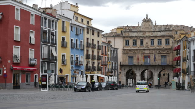 spain cuenca plaza major - courtyard stock videos & royalty-free footage