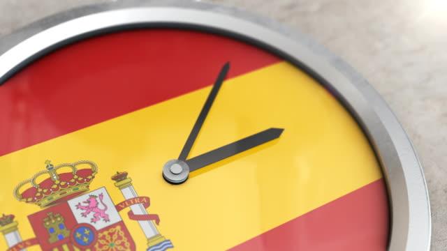 スペインフラグクロックタイムラプス - スペイン国旗点の映像素材/bロール