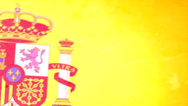 spanien-flagge mit grunge.  hd - - ausgefranst stock-videos und b-roll-filmmaterial