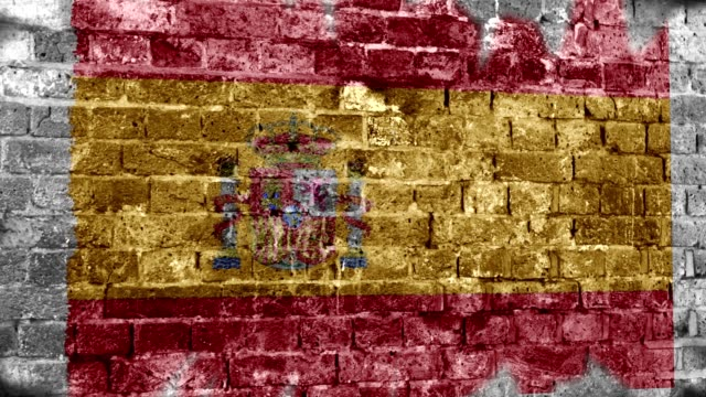 Spain Flag Grunge Wall. 4k
