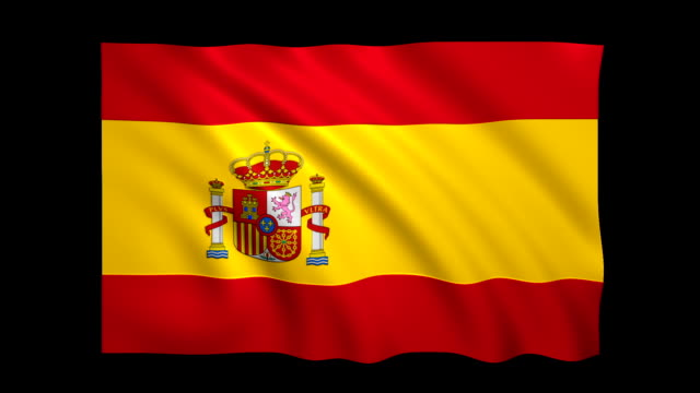 Spain Flag Loopable alpha included - Stock video