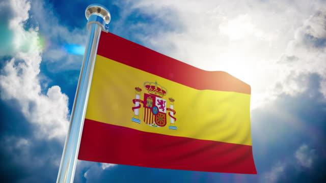 4k spanien flagge - loopable stock video - fahnenstange stock-videos und b-roll-filmmaterial