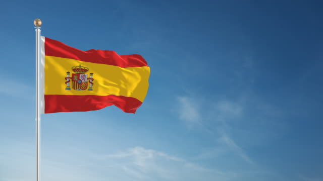 4k spain flag - loopable - spanish culture stock videos & royalty-free footage