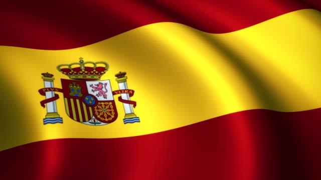 単発を振っているスペインの旗 - スペイン国旗点の映像素材/bロール