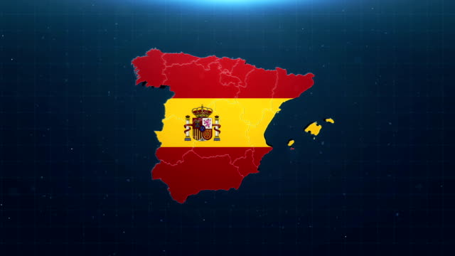国旗付き4kスペイン地図 - スペイン国旗点の映像素材/bロール