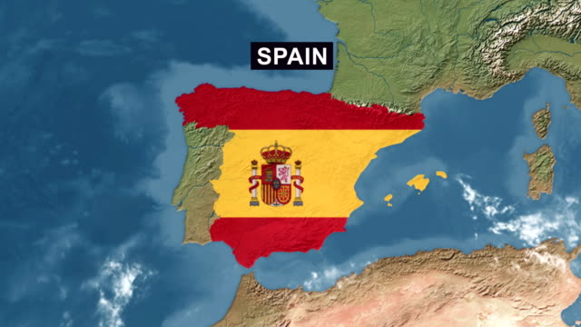 vídeos de stock e filmes b-roll de spain map with spanish flag, zoom in to spain terrain map from wide perspective view - espanha