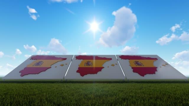 スペイン地図青空の下 - スペイン国旗点の映像素材/bロール