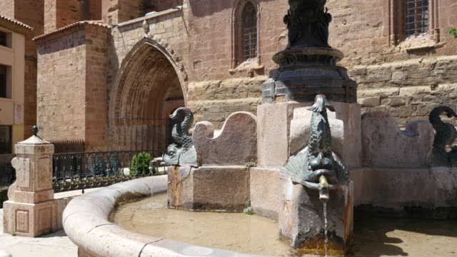 Spain Mora de Rubielos fountain and church