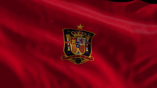 spain national soccer team flag waving computer generated animation for editorial use seamlessly looped and close up - loopable elements stock videos & royalty-free footage