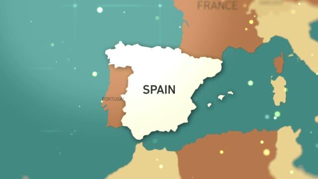 spanien auf weltkarte stockvideo - süden stock-videos und b-roll-filmmaterial