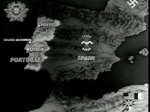 stockvideo's en b-roll-footage met map spain portugal lisbon porto - 1943