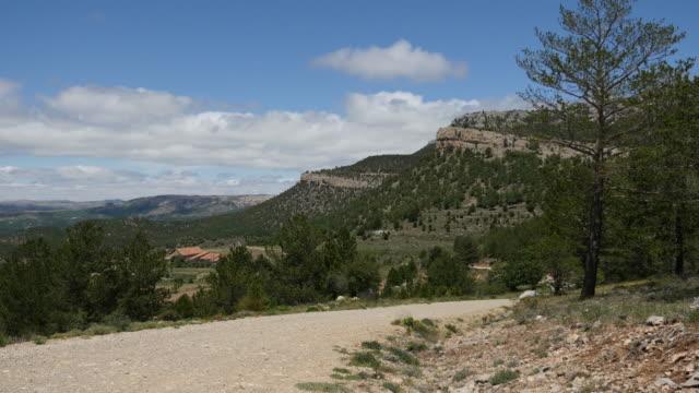 spain sierra de gudar dirt road to adventure - pinaceae stock videos & royalty-free footage