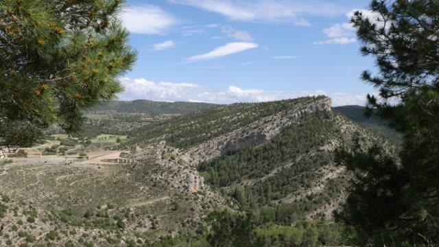 spain sierra de gudar hill with tilted strata - rock strata stock videos & royalty-free footage