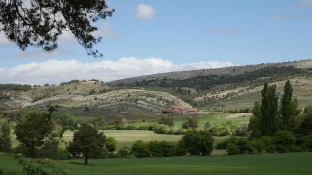 spain sierra de gudar wheat field and hills - rock strata stock videos & royalty-free footage