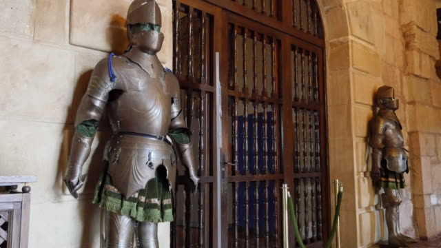 spain siguenza castle knights in armor - guarding stock videos & royalty-free footage