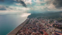 spain sunny day barcelona city bay beach aerial panorama 4k time lapse
