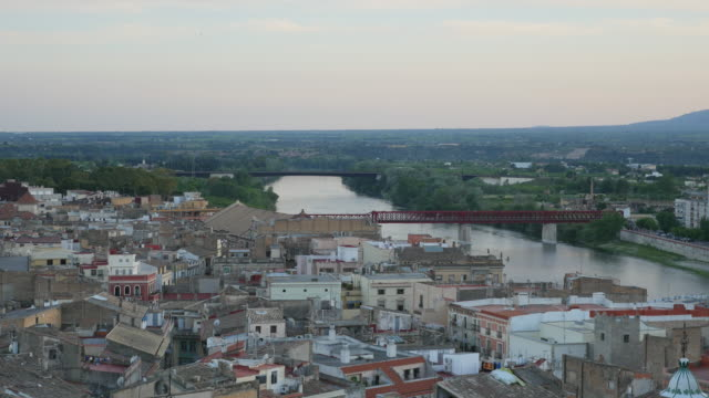 Spain Tortosa city in twilight
