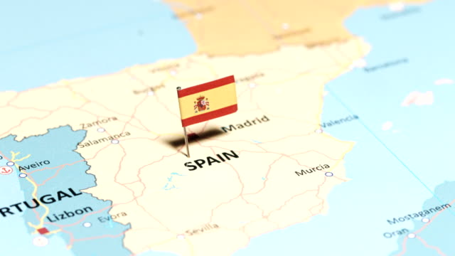 spain with national flag - europa continente video stock e b–roll