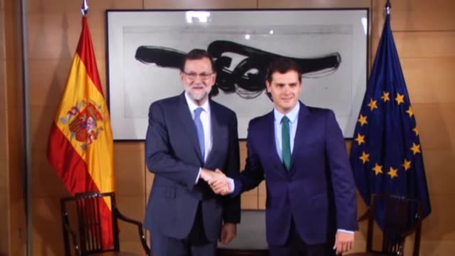 spain's acting prime minister mariano rajoy and ciudadanos party leader albert rivera hold a meeting at the spanish parliament in madrid spain on... - political party stock videos & royalty-free footage