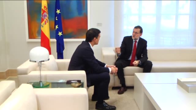 Spain's acting Prime Minister Mariano Rajoy meets with SecretaryGeneral of the Spanish Socialist Workers' Party Pedro Sanchez at the La Moncloa...