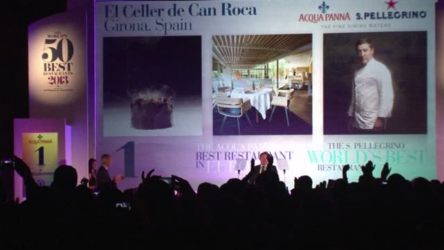 spains el celler de can roca seized the title of the worlds best restaurant from denmarks noma on monday. clean : denmarks noma loses world on april... - roca video stock e b–roll