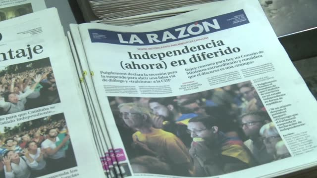 spain's government prepares to hold crisis talks after catalan leaders signed a suspended declaration of independence and called for dialogue with... - independence stock videos & royalty-free footage