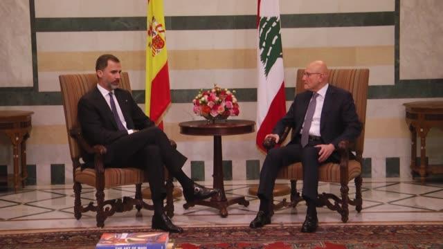 Spain's King Felipe VI meets with Lebanese Prime Minister Tammam Salam at Prime Ministry building in Beirut Lebanon on April 07 2015